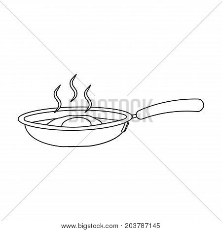 Frying pan, single icon in outline style.Frying pan vector symbol stock illustration .