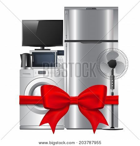 Group of household appliances with red gift ribbon and bow. Isolated on white background. Applicable for sale of electronics. Vector eps 10.