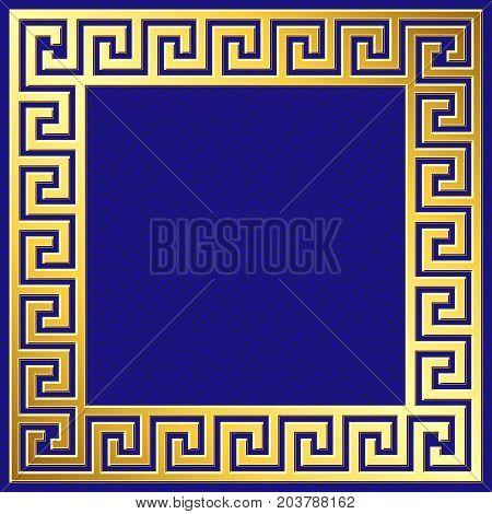 Golden square frame with traditional vintage Greek Meander pattern on blue background for design template.