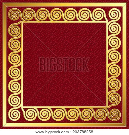 Golden square frame with traditional vintage Greek Meander pattern on red background for design template.