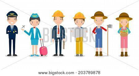 professions for people ,set of cute professions isolated on white background, pilot,air hostess, engineering,farmer, dream jobs, Vector Illustration