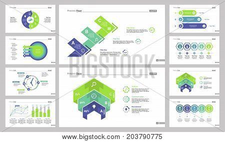 Creative chart template set can be used for workflow layout, annual report, web design. Business concept with donut, process, timetable, scatter plot, bar, option charts