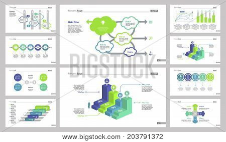 Creative diagram web design set can be used for workflow layout, annual report, presentations. Management concept with process, option, percentage bar, organizational, scatter plot, cross charts