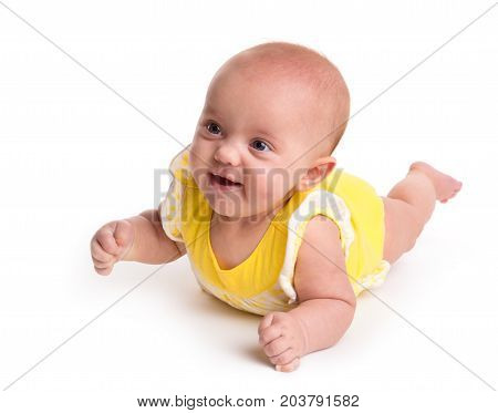 Cute smiling baby isolated on white background