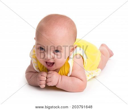 Cute baby smiling isolated on white background