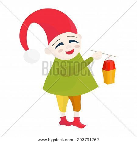 Vector illustration for Saint Martin's Day or Feast, also known as the Martinstag or Martinmas:  a kid with a gnome cloth on and Martin Lantern celebrating Laternelaufen. A kid walking with Lantern.