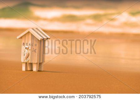 Beachside Beach Hut Tropical Holiday Background abstract (Location Noosa, Australia)