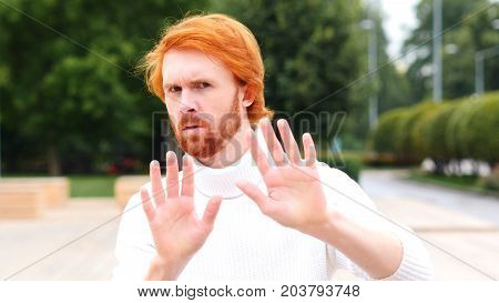 Stop Man Denying Gesture Outdoor, Red Hairs and  Beard