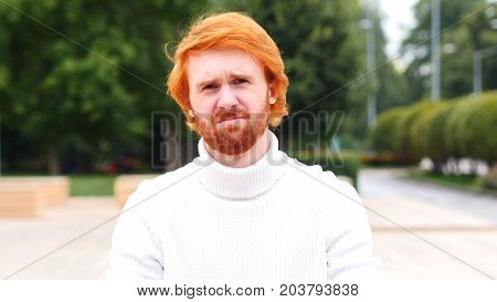 Sad Beard Man Expressing Disappointment, Red Hairs