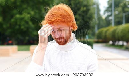 Headache Upset Tense Young Man Outdoor, Red Hairs and  Beard