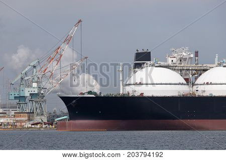 Cargo ship loaded with freight in port