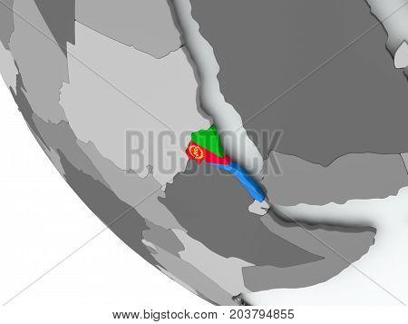 Flag Of Eritrea On Political Globe