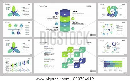 Process page slide templates set can be used for workflow layout, annual report, presentation. Management concept. Petal, option, process, cube, organizational, cycled, flow, timing and dates charts