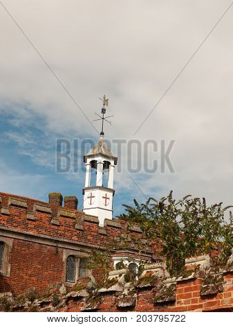 Weather Top Small White Tower Top Of Church Hall With England Shield Flag Long Melford