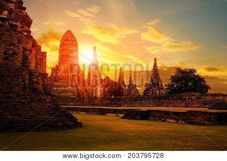 wat chaiwattanaram ayutthaya province world heritage site of unesco in central of thailand
