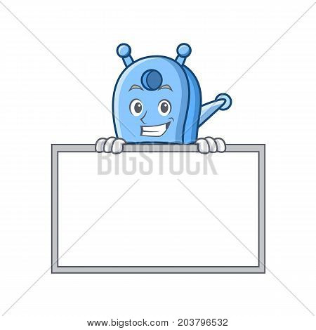 Grinning with board pencil sharpener character cartoon vector illustration
