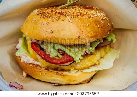 Hamburger with salsd and tomato. close up view