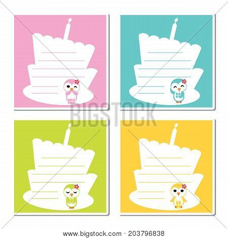 Cute penguin girls on colorful birthday cake frame vector cartoon illustration for kid memo paper design, planner paper and stationery paper