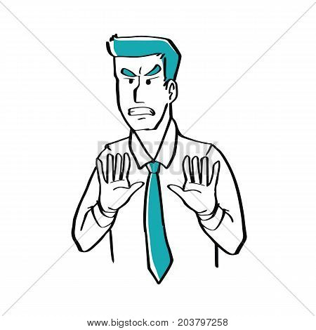 Hand drawn doodle style a businessman is disgusted illustration vector business concept.
