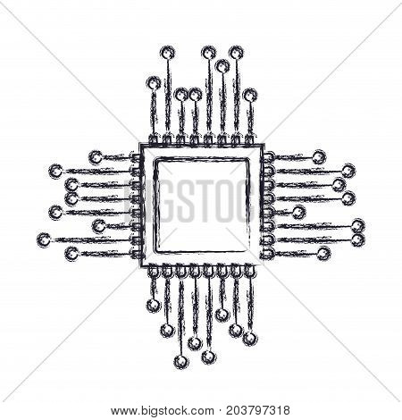 microchip icon in blurred silhouette vector illustration