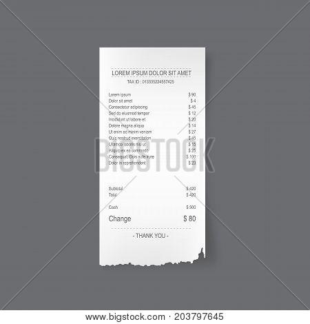 Paper torn receipt realistic  vector illustration design.