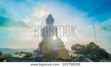 Aerial Photography White Great Phuket's Big Buddha In Blue Sky