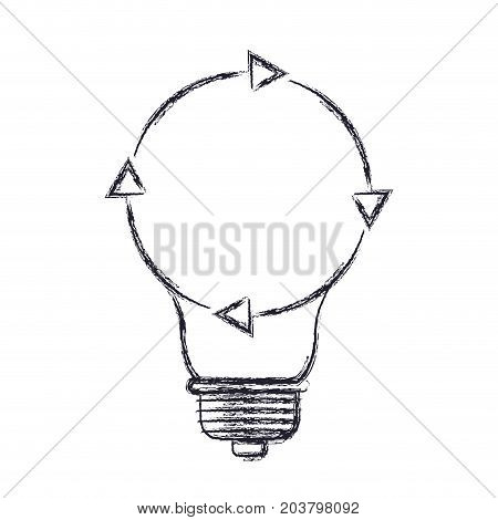 light bulb with reload icon in blurred silhouette vector illustration