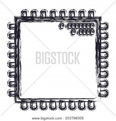 microchip closeup icon in blurred silhouette vector illustration
