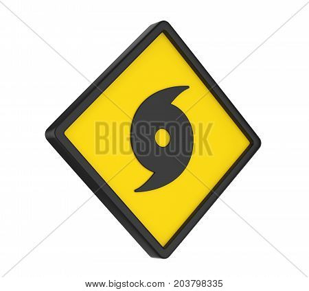 Hurricane Warning Sign isolated on white background. 3D render