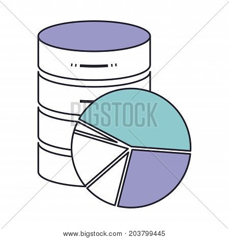 server hosting storage icon and available space circular graphic in color section silhouette vector illustration