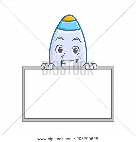 Grinning board cute rocket character cartoon vector illustration