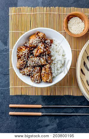 Japanese Food. Chicken Teriyaki With Rice. Slate Background, Top View