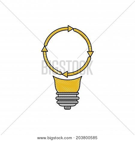 light bulb with reload icon in color crayon silhouette vector illustration