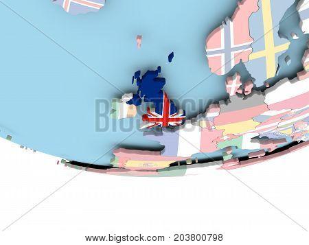 Map Of United Kingdom With Flag On Globe
