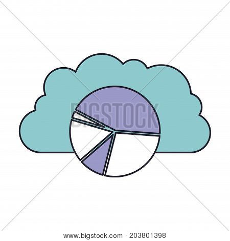 cloud storage data service icon and available space circular graphic in color section silhouette vector illustration