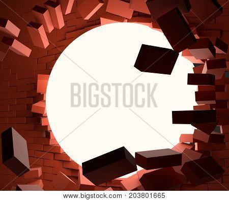 A glowing ball smashed the brick wall. It's dark around. 3d illustration