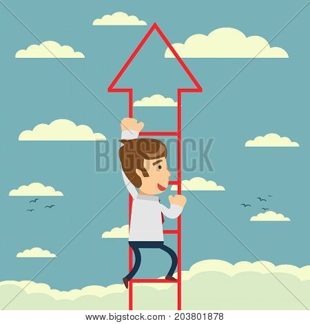 Businessman walks upstairs. Business concept. Vector illustration