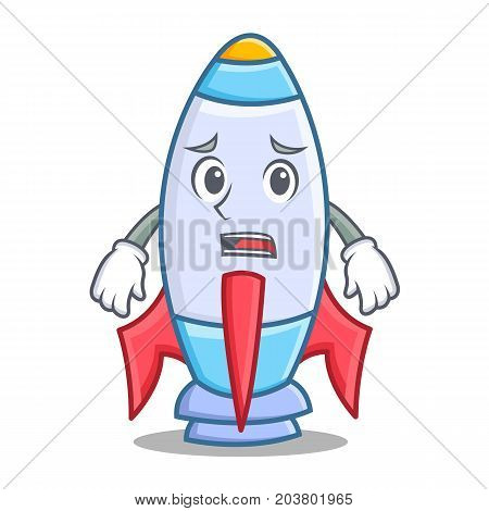 Afraid cute rocket character cartoon vector illustration
