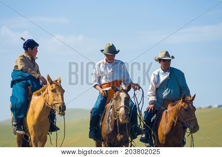 Mongolian Cowboys Horseback Traditional Clothes