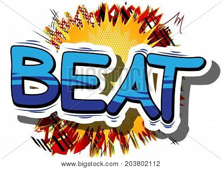 Beat - Comic book word on abstract background.