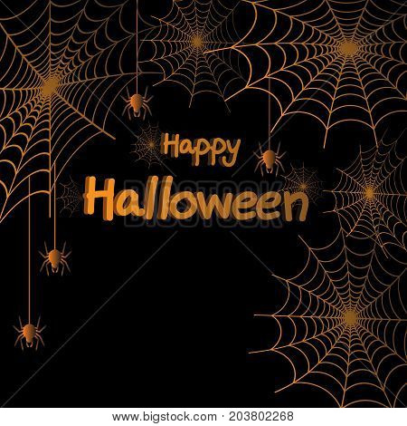 Happy Halloween spider web and spiders for greeting card poster banner Vector illustration