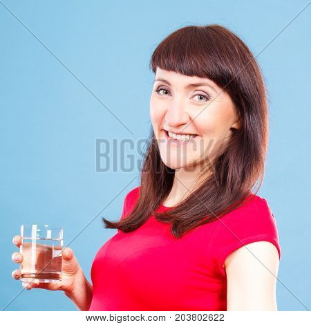 Smiling Woman Holding In Hand Glass Of Water, Healthy Lifestyle And Hydration Concept