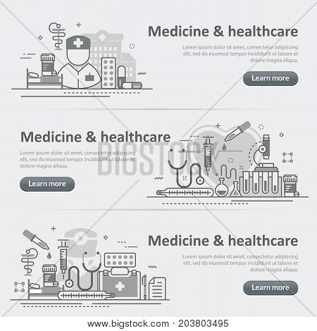 Flat line vector design concept banner templates set of medicine and healthcare service for web design header website
