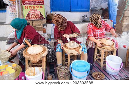 Moroccan Women Make Argan Oil In Essaouira. Morocco