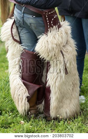 June 3 2017 Machachi Ecuador: chaps worn by Andean cowboys are made of alpaca or sheep skin