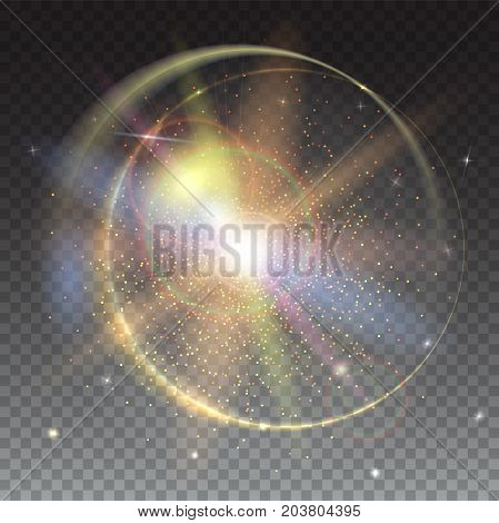 Circular light rays and lens flare backdrop. Glow light effect and star burst with sparkles. Abstract bright background isolated on trasparent
