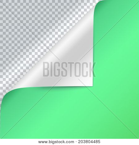 Vector curled corner of green paper. Page curl with shadow on blank sheet of paper. Close-up isolated on transparent background. Paper sticker, square 3D illustration