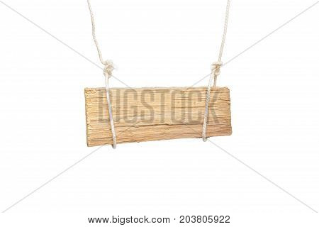a piece of wood on a rope on a white background