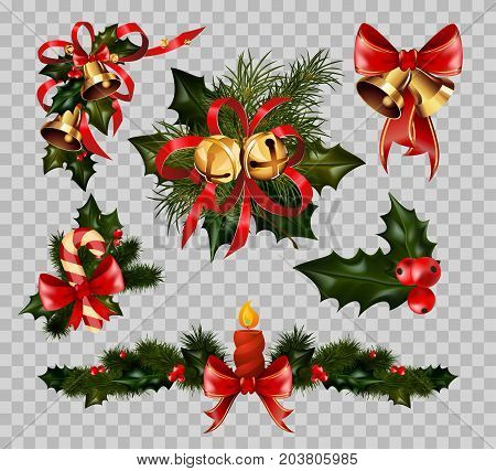 Christmas decorations set on transparent background. Vector isolated Christmas fir tree wreath in red ribbon bow, golden jingle bell or ball and holly leaf for winter holiday design decoration element