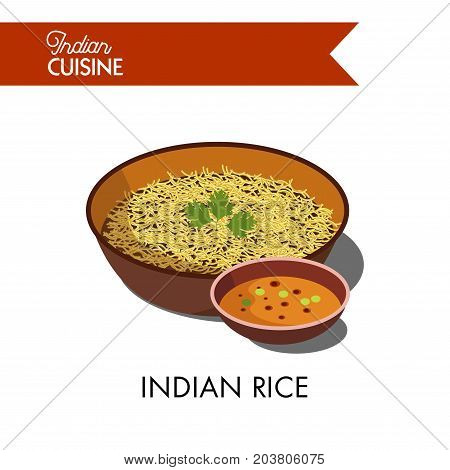 Indian rice decorated with fresh parsley in deep bowl with spicy liquid sauce isolated cartoon vector illustration on white background. Exotic asian nutritious vegetarian cuisine in big portion.